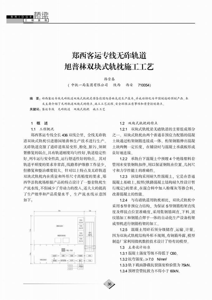 工程实例 郑西客运专线无砟轨道旭普林双块式轨枕施工工